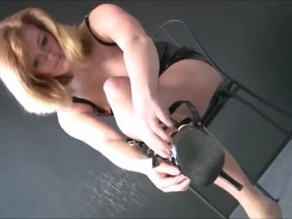 Sexy blonde MILF in tight too short pvc..