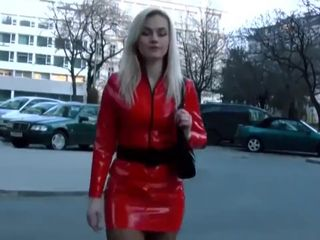 Crazy blonde MILF in too short leather..