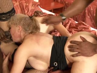 Granny interracial anal foursome with..