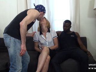 French mature mom hard DP by white an..