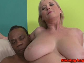 Throating mature interracially analfucked