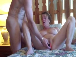 Horny mature slutwife loves both holes