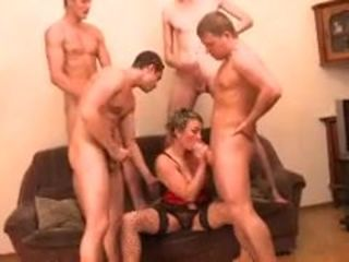 Russian Mature fucks 4 boys
