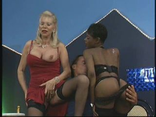 Mature Blonde, Hot Ebony in foursome