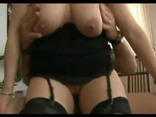 Mature rides him and then gets her ass..