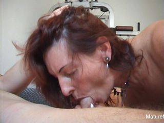Pierced granny gets an anal workout in..