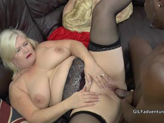 Big black cock fucks Grandma in her ass