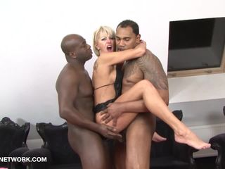 Interracial Threesome Mature Blonde..