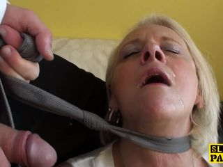 Bigtitted british gran gets rough..