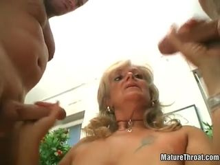 ugly Blonde mature whore knows how to..