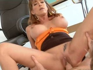 Redhead teacher takes care of student