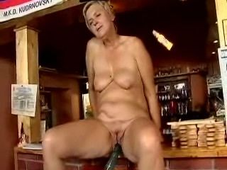 Blonde mature fucked by the machine in..