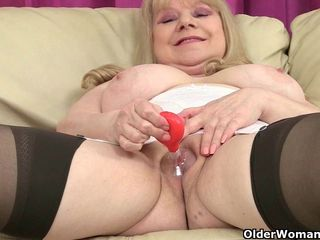 British granny Amanda and her sex toy..